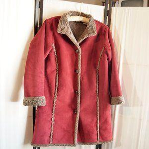 L.L. BEAN Raspberry Coat Microsuede Shearling Hip